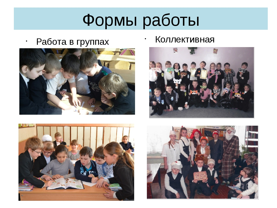 Формы работы Работа в группах Коллективная