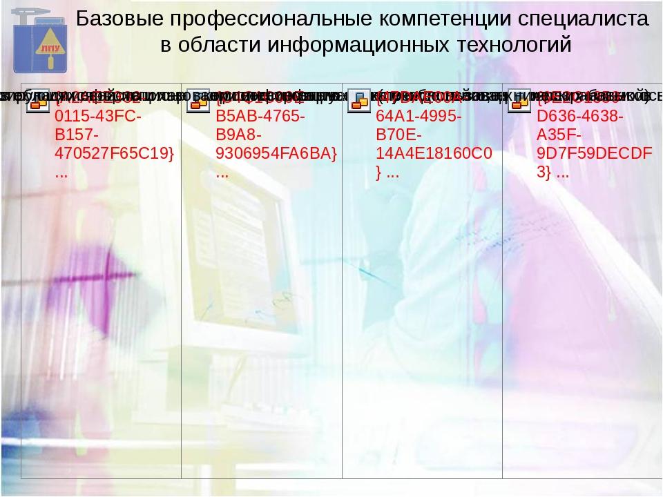 Базовые профессиональные компетенции специалиста в области информационных тех...