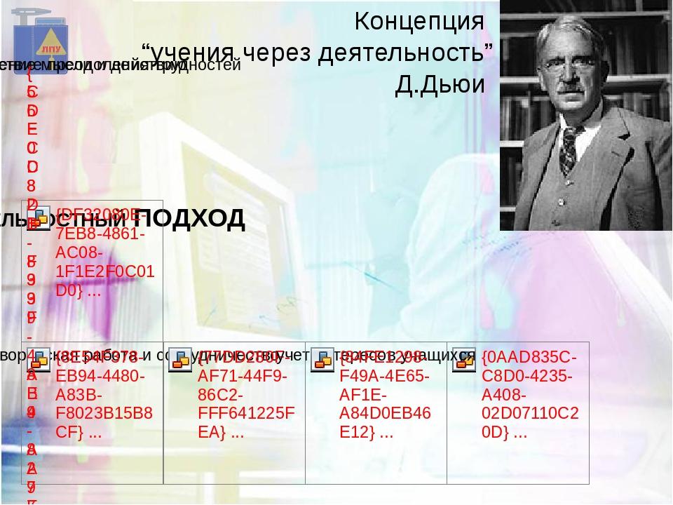 """Концепция """"учения через деятельность"""" Д.Дьюи"""