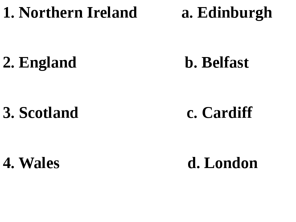 1. Northern Ireland a. Edinburgh 2. England b. Belfast 3. Scotland c. Cardif...