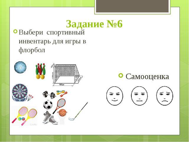 Задание №6 Выбери спортивный инвентарь для игры в флорбол Самооценка