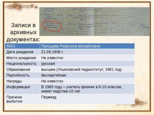 Записи в архивных документах: ФИО ПальцеваРозалина Михайловна Дата рождения 2