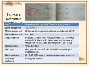 Записи в архивных документах: ФИО Конакова(Белоусова) Татьяна Аркадьевна Дата