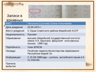 Записи в архивных документах: ФИО Челухина(Суслова) Елена Николаевна Дата рож