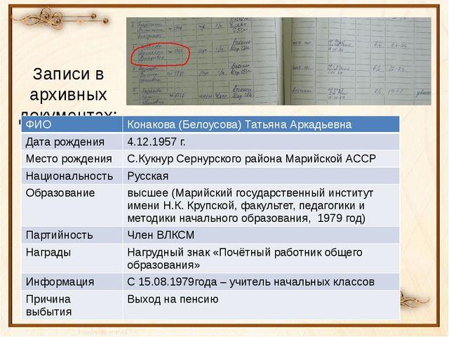 Записи в архивных документах: ФИО Конакова(Белоусова) Татьяна Аркадьевна Дата...
