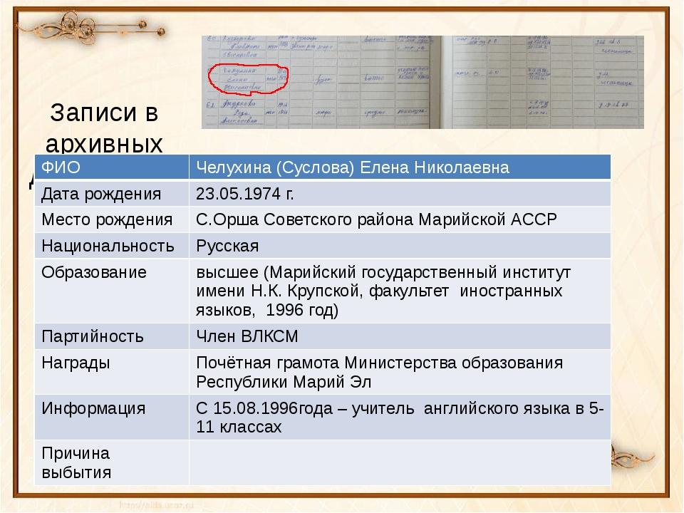 Записи в архивных документах: ФИО Челухина(Суслова) Елена Николаевна Дата рож...