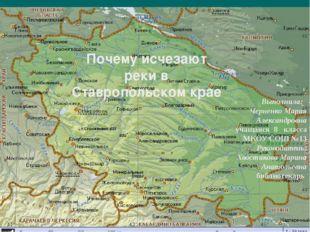Почему исчезают реки в Ставропольском крае Выполнила: Черненко Мария Александ
