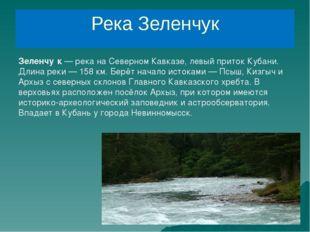 Река Зеленчук Зеленчу́к— река на Северном Кавказе, левый приток Кубани. Длин