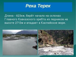 Река Терек Длина - 623км, берёт начало на склонах Главного Кавказского хребта