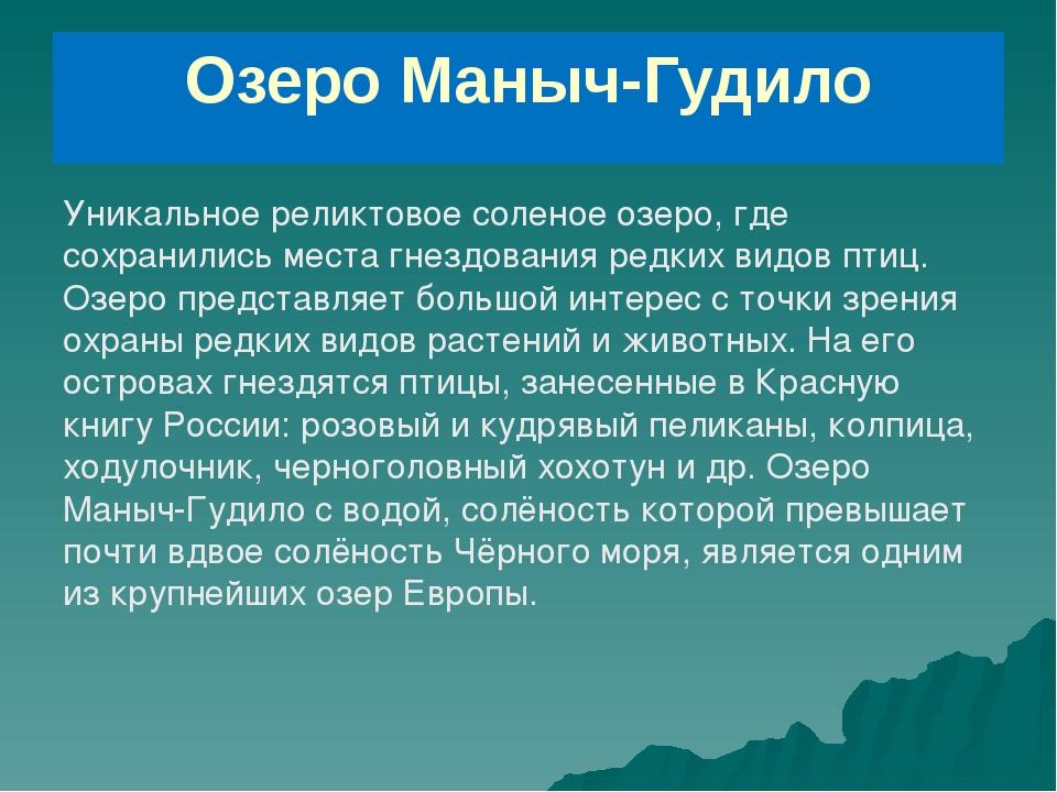 Озеро Маныч-Гудило Уникальное реликтовое соленое озеро, где сохранились места...
