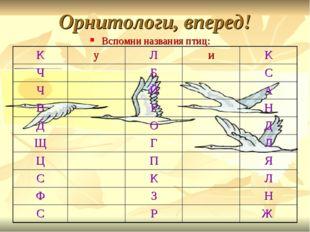 Орнитологи, вперед! Вспомни названия птиц: КуЛиК ЧБС ЧЙА ВРН