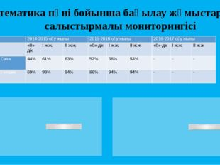 Математика пәні бойынша бақылау жұмыстарының салыстырмалы мониторингісі  201