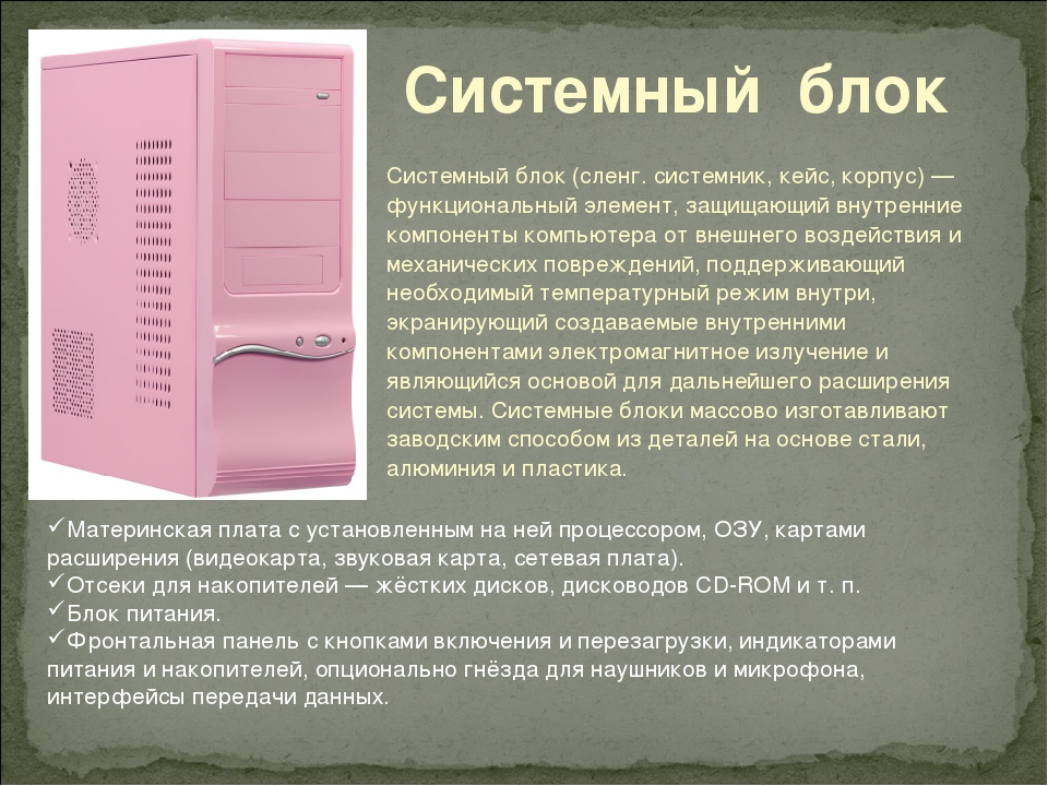 Системный блок Системный блок (сленг. системник, кейс, корпус) — функциональн...