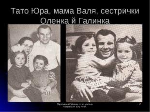 Підготувала Рябченко Н. М., учитель Покровської ЗОШ І-ІІ ст. * Тато Юра, мама