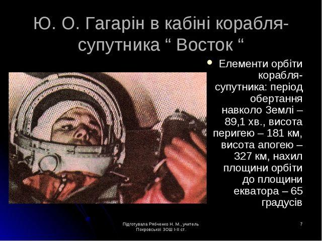 Підготувала Рябченко Н. М., учитель Покровської ЗОШ І-ІІ ст. * Ю. О. Гагарін...