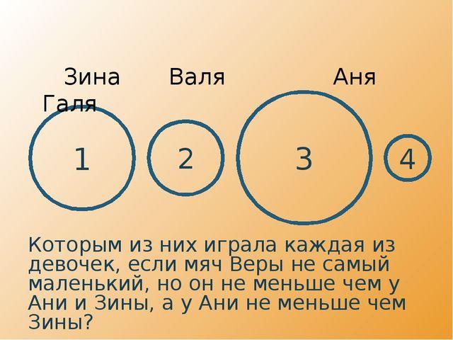 1 3 2 4 Зина Валя  Аня Галя Которым из них играла каждая из девочек, если...
