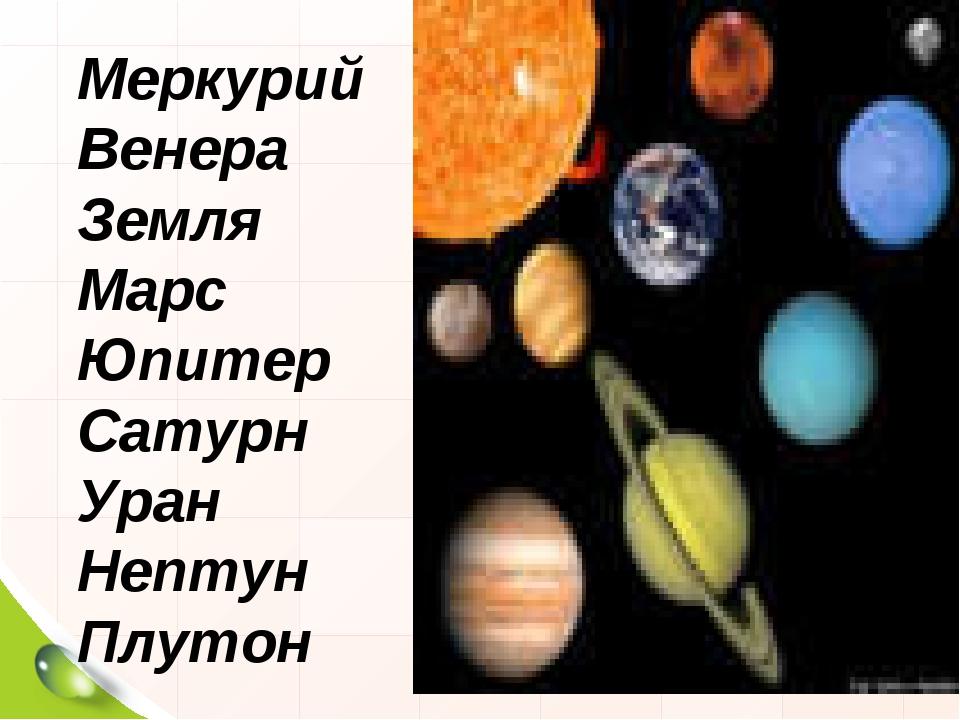Меркурий Венера Земля Марс Юпитер Сатурн Уран Нептун Плутон