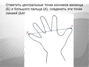 Отметить центральные точки кончиков мизинца (Б) и большого пальца (А), соедин