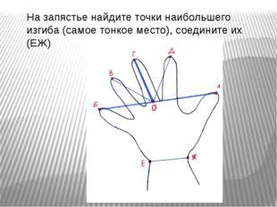 На запястье найдите точки наибольшего изгиба (самое тонкое место), соедините