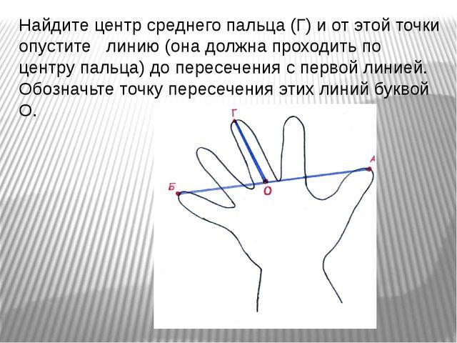 Найдите центр среднего пальца (Г) и от этой точки опустите линию (она должна...