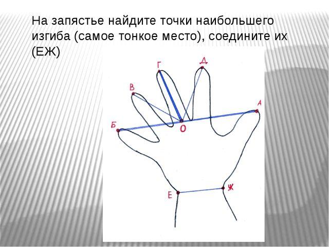 На запястье найдите точки наибольшего изгиба (самое тонкое место), соедините...