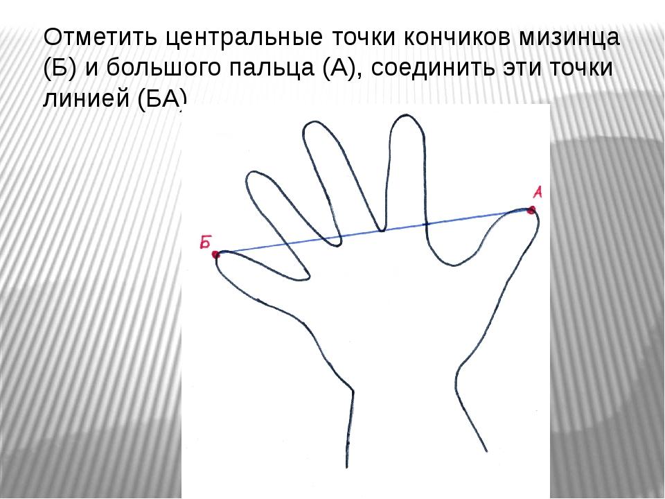 Отметить центральные точки кончиков мизинца (Б) и большого пальца (А), соедин...