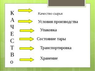 К А Ч Е С Т В о Качество сырья Условия производства Упаковка Состояние тары Т