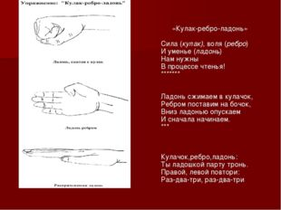 «Кулак-ребро-ладонь» Сила (кулак), воля (ребро) И уменье (ладонь) Нам нужны В