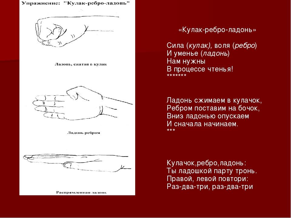 «Кулак-ребро-ладонь» Сила (кулак), воля (ребро) И уменье (ладонь) Нам нужны В...
