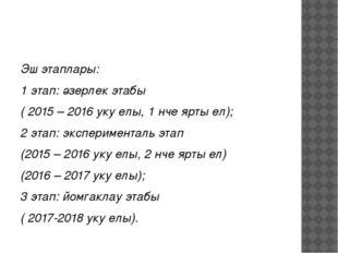 Эш этаплары: 1 этап: әзерлек этабы ( 2015 – 2016 уку елы, 1 нче ярты ел); 2
