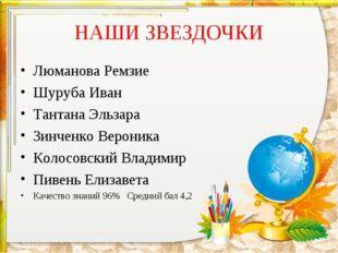 НАШИ ЗВЕЗДОЧКИ Люманова Ремзие Шуруба Иван Тантана Эльзара Зинченко Вероника