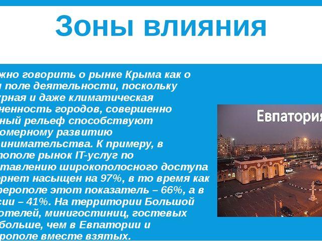 Зоны влияния Сложно говорить о рынке Крыма как о едином поле деятельности, п...