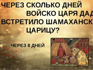 ЧЕРЕЗ СКОЛЬКО ДНЕЙ ВОЙСКО ЦАРЯ ДАДОНА ВСТРЕТИЛО ШАМАХАНСКУЮ ЦАРИЦУ? ЧЕРЕЗ 8