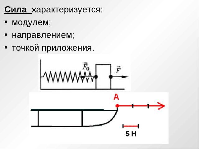 Сила характеризуется: модулем; направлением; точкой приложения.