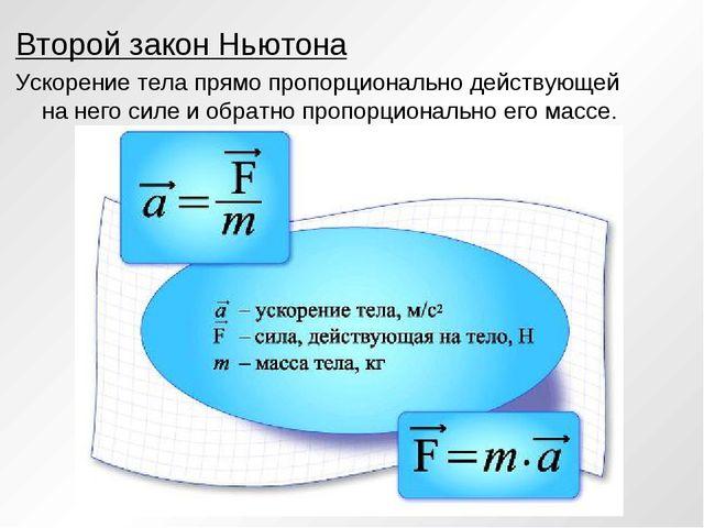 Второй закон Ньютона Ускорение тела прямо пропорционально действующей на него...