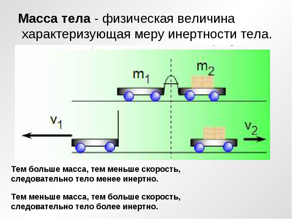 Масса тела - физическая величина характеризующая меру инертности тела. Тем б...