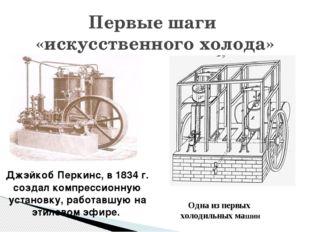 Первые шаги «искусственного холода» Одна из первых холодильных машин Джэйкоб