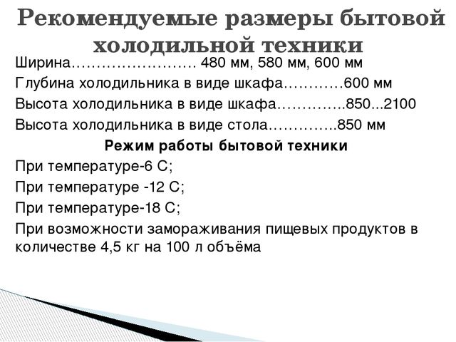 Ширина……………………. 480 мм, 580 мм, 600 мм Глубина холодильника в виде шкафа…………6...