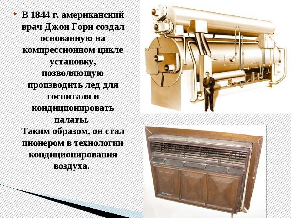 В 1844 г. американский врач Джон Гори создал основанную на компрессионном цик...