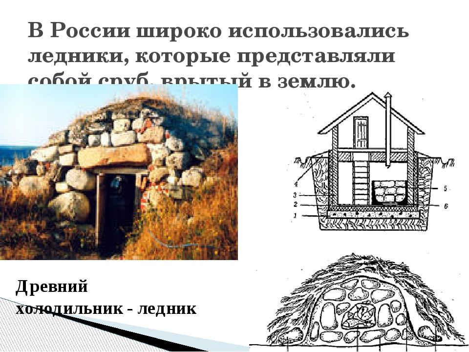 В России широко использовались ледники, которые представляли собой сруб, вры...