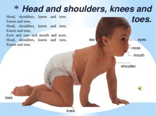 Head and shoulders, knees and toes. knee toes mouth nose eyes ear shoulder H