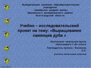 Муниципальное казённое общеобразовательное учреждение «Линёвская средняя школ