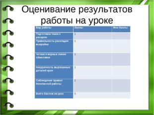 Оценивание результатов работы на уроке Вид работыбаллыМои баллы Подготовка