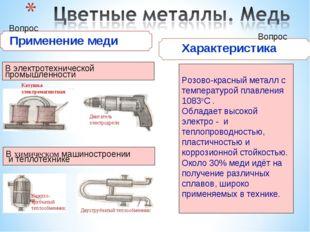 Применение меди В электротехнической промышленности Розово-красный металл с
