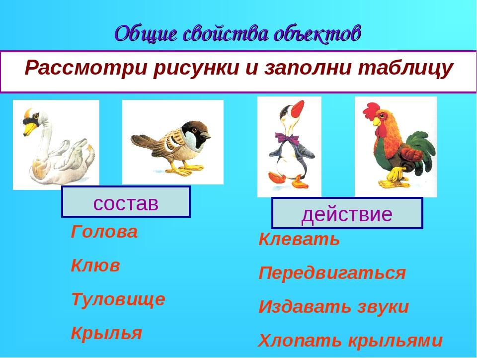 Общие свойства объектов Рассмотри рисунки и заполни таблицу состав действие Г...