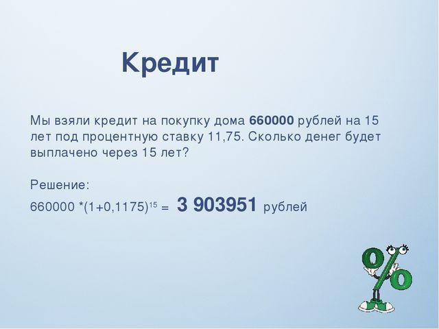 Кредит Мы взяли кредит на покупку дома 660000 рублей на 15 лет под процентную...