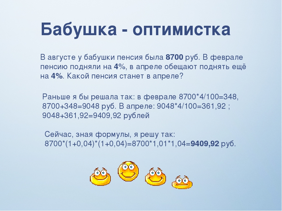 Бабушка - оптимистка В августе у бабушки пенсия была 8700 руб. В феврале пенс...