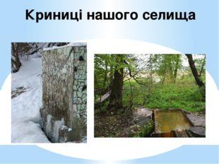 Криниці нашого селища