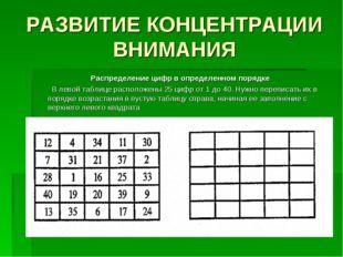РАЗВИТИЕ КОНЦЕНТРАЦИИ ВНИМАНИЯ Распределение цифр в определенном порядке В ле