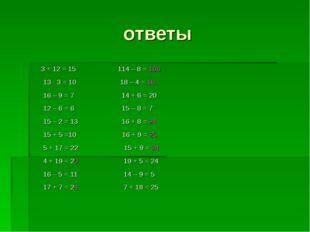 ответы 3 + 12 = 15 114 – 8 = 106 13 - 3 = 10 18 – 4 = 16 16 – 9 = 7 14 + 6 =